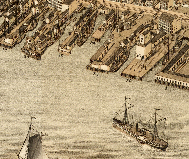 Beautiful Old Map of Portland Maine 1876 - product image