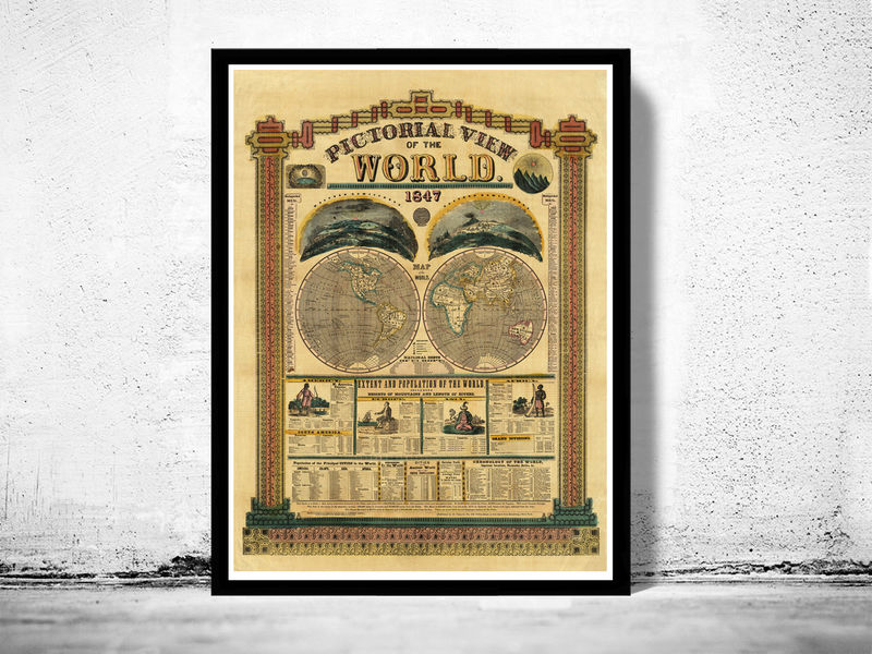 Vintage Pictorial World Map 1847 with interesting historical information - product image