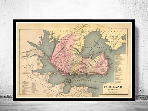 Old,Map,of,Portland,Maine,1885,portland me, portland, portland maine, portland map, map of portland,vintage_poster