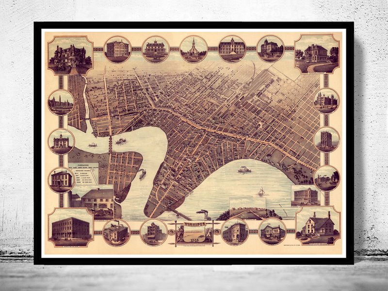 Old Map of Winnipeg Canada 1884 Panoramic View - product image