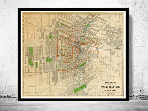 Old,Map,of,Winnipeg,Manitoba,Canada,1917,Vintage,manitoba, winnipeg, map of winnipeg, winnipeg map, winnipeg poster