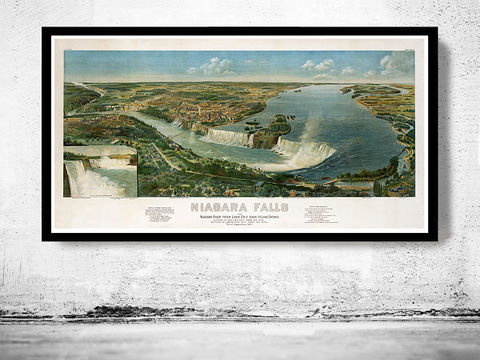 Panoramic,View,of,Niagara,Falls,,Lake,Erie,Ontario,,,Aerial,view,United,States,1891,Art,Reproduction,Open_Edition,city,vintage,United_States,panoramic_view,gravure,birdseye,LAke_Erie,Lake_Ontario,niagara_falls,vintage_poster,american_vintage,united_states_poster