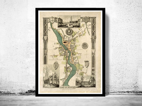 Old,Map,of,Boston,1837,England,Vintage,boston uk, boston england, antique map, old map, map reproductions