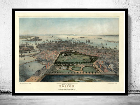 Birds,Eye,View,Old,Map,of,Boston,,Massachusetts,1850,Art,Reproduction,Open_Edition,city,vintage,Boston,United_States,panoramic_view,birds_eye,gravure,illustration,map_of_boston,boston_map