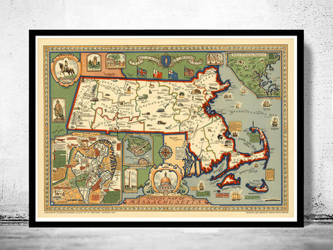 Old,Pictorial,Map,of,Massachusetts,1935,,Boston,,Salem,,Worcester,Lowell,,Springfield,massachusetts, map, worcester, boston, lowell, springfield, massachusetts map, map of massachusetts