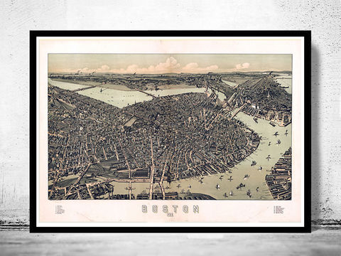 Birds,Eye,View,Old,Map,of,Boston,,Massachusetts,United,States,1899,Art,Reproduction,Open_Edition,city,vintage,Boston,United_States,panoramic_view,birds_eye,gravure,illustration,map_of_boston,boston_map
