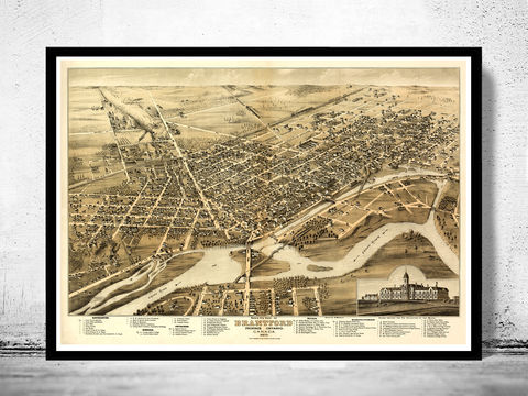 Old,Map,of,Brantford,Canada,1875,Panoramic,View,brantford, brantford canada, brantford map, map of brantford, brantford poster, maps, large map , map reproductions