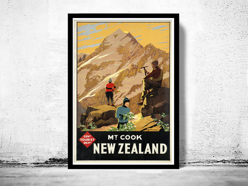 Vintage Poster of New Zealand Mt Cook Tourism poster travel - product images