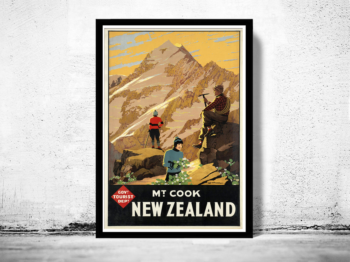 Vintage Poster of New Zealand Mt Cook Tourism poster travel - product image