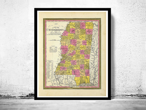 Old,Map,Mississippi,1846,Vintage, Mississippi map, Mississippi poster, old map of Mississippi