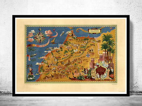 Old,Map,of,Morocco,Le,Maroc,1948,Vintage,morocco map, le maroc, old map of morocco, morocco poster, morocco. old map of casablanca, old map, vintage map, vintage poster, casablanca, casablanca poster, casablanca city, casablanca map