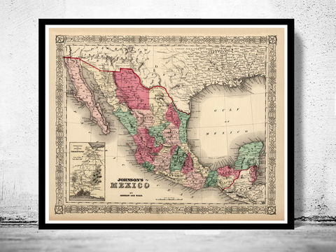 Old,Map,of,Mexico,1865,Vintage,Art,Reproduction,Open_Edition,old_map,antique,antique_map,vintage_map,north_america,mexico,united_states_map,Mexican,Central_Railway,map_of_mexico,mexico_map,mexican_poster,mexico_poster