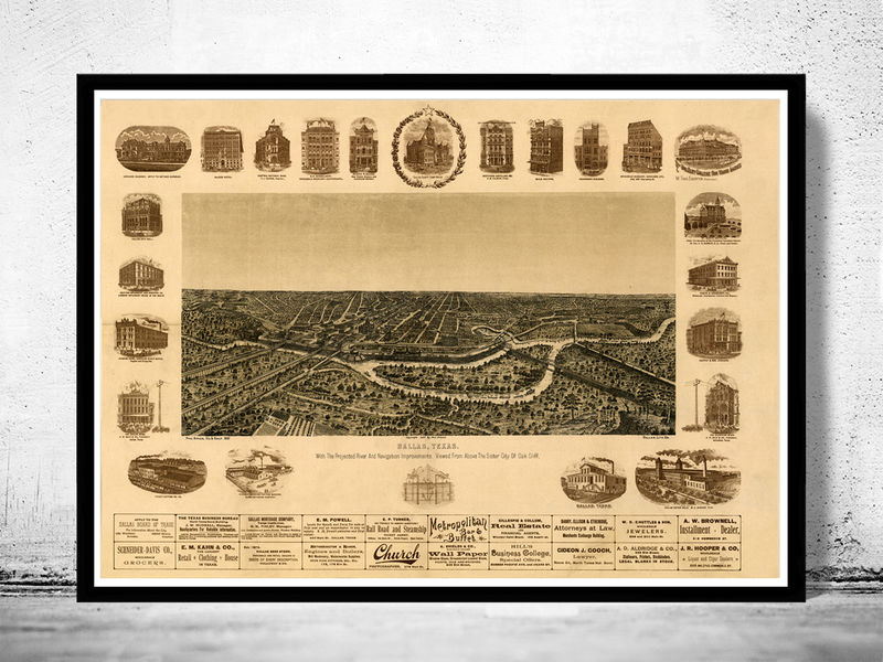 Dallas Texas Old Panoramic View 1892 - product image