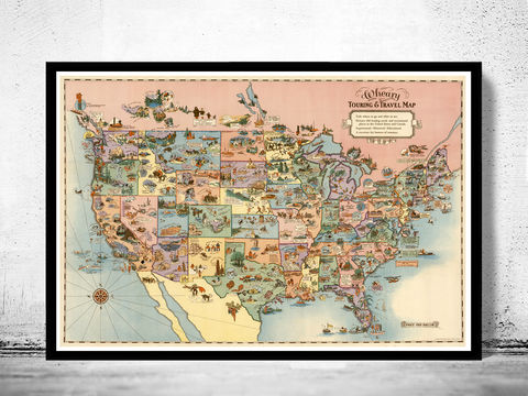 Vintage,Map,of,United,States,America,,Recreational,Touring,&,Travel,1928,Recreational Touring, old maps for sale, maps reproductions, Art,Reproduction,Open_Edition,old_map,antique,atlas,illustration,united_states,humour,1946,folklore,satyrical,antique_map,united_states_map,vintage_poster,united_states_poster