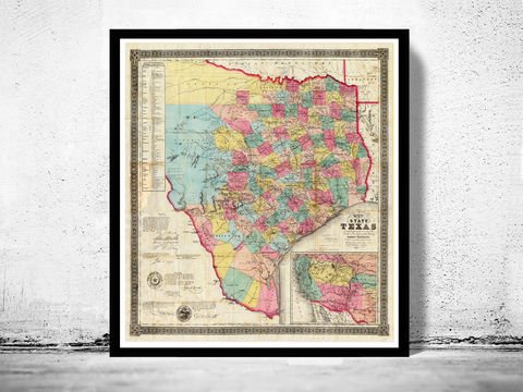 Old,Map,Texas,1856,United,States,of,America,texas, texas map, texas poster