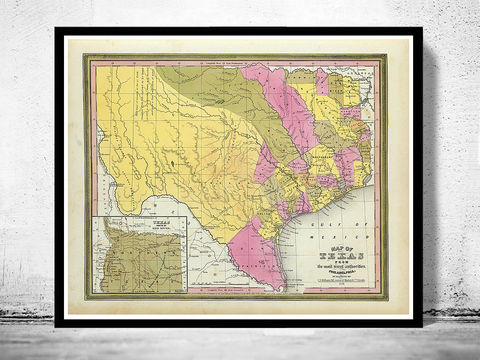Old,Map,Texas,1846,United,States,of,America,texas, texas map, texas poster