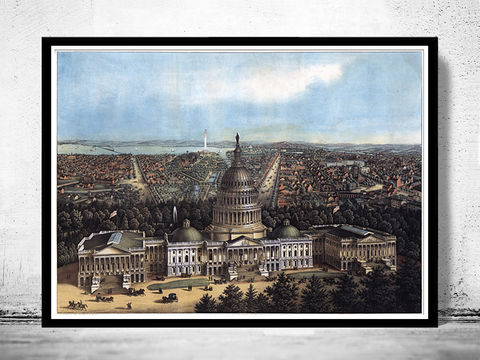 Old,Panoramic,View,of,Washington,D.C,Capitol,,United,States,America,1871,Art,Reproduction,Open_Edition,vintage,illustration,United_States,USA,city_map,retro,antique,washington,capitol,capital_city,birdseye,panoramic,washington_poster