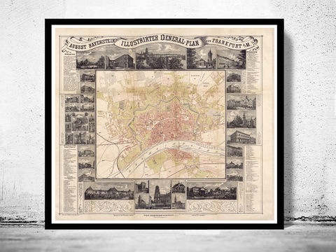 Old,Map,of,Frankfurt,Germany,1860,Art,Reproduction,Illustration,frankfurt,mayn,main,illustration,panoramic_view,antique,old_map,city_plan,frankfurt_map,map_of_frankfurt,frankfurt_retro,frankfurt_vintage