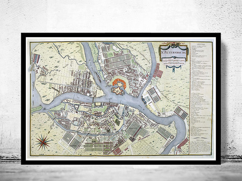 Old Map of  Saint Petersburg, S. Peterbourg Russia 1783 vintage Map - product image