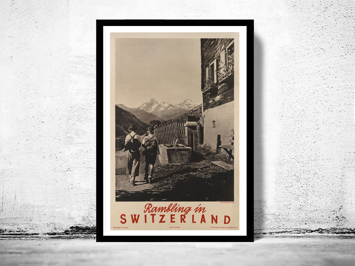 Vintage Poster of Switzerland, Travel Poster Tourism 1930-40 - product image