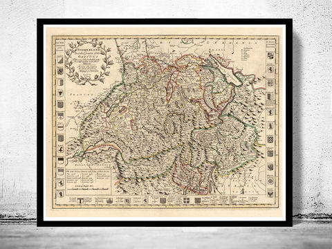 Old,Map,of,Switzerland,Antique,Schweiz,1721,Art,Reproduction,Open_Edition,map,vintage,old_map,antique,illustration,switzerland_map,zwitzerland_decor,vintage_switzerland,switzerland_poster,vintage_retro,map_of_switzerland