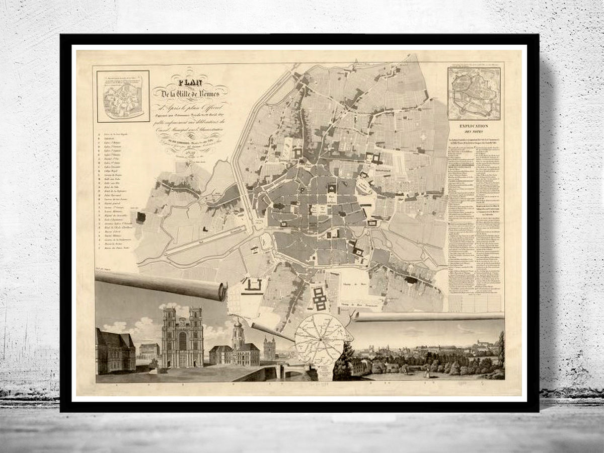 Old Map of Rennes France 1830 Vintage Map - product images  of