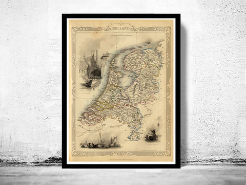 Vintage,Map,of,The,Netherlands,Hollandia,Holland,1851,Art,Reproduction,Open_Edition,old_map,atlas,illustration,antique_map,belgium_map,netherlands_map,holland_map,dutch,amsterdam_map,old_belgium_map,historic_map,vintage_map