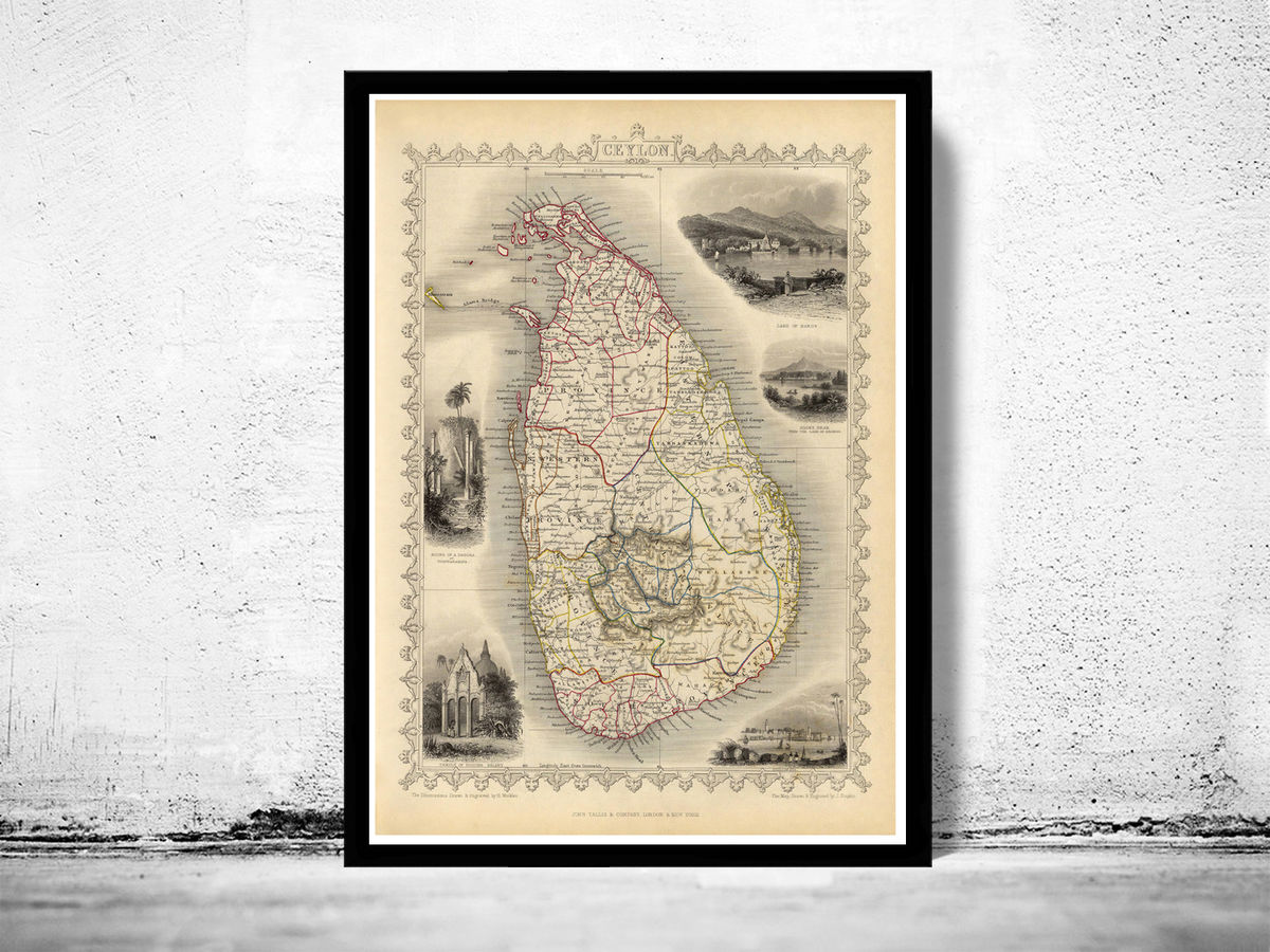 Old Map of Sri Lanka Old Ceylon 1851 Vintage Map - product images  of