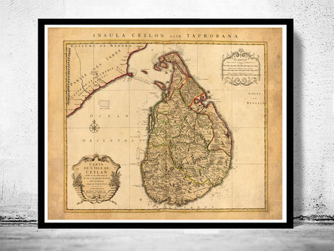 Old,Map,of,Sri,Lanka,,Ceylon,1742,ceylon map, old map of sri lanka, old sri lanka, sri lanka map, sri lanka poster, antique ceylon, maps reproductions