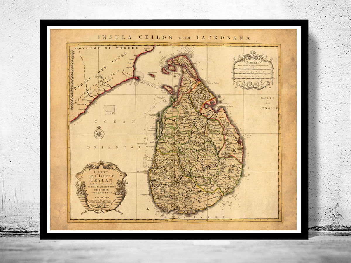 Old Map of Sri Lanka Old Ceylon 1742 Vintage Map - product images  of