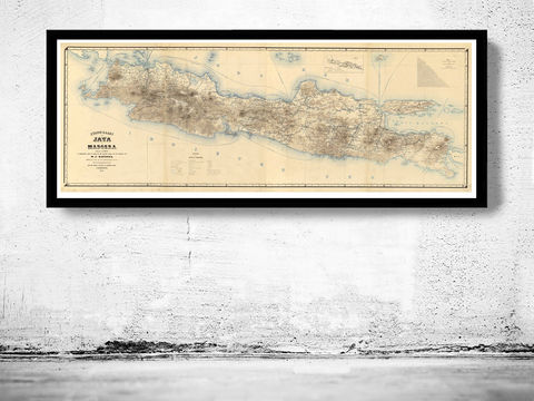 Old,Map,of,Java,and,Madura,Islands,Indonesia,1878,Vintage,indonesia map, maps for sale, antique maps, maps reproductions, java, java islands, madura island, java indonesia, java poster