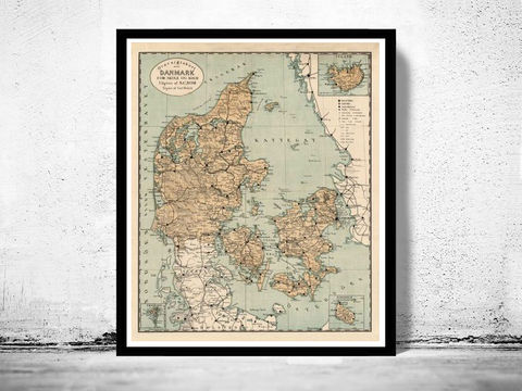 Old,Map,of,Danmark,Denmark,Danemark,1890,danmark, denmark, denmark poster, denmark map, map of denmark, vintage map, old map, cartography, danemark map, map of danemark