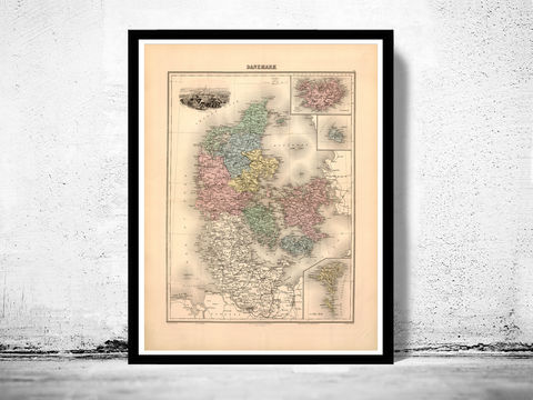 Old,Map,of,Danmark,Denmark,Danemark,1892,danmark, denmark, denmark poster, denmark map, map of denmark, vintage map, old map, cartography, danemark map, map of danemark