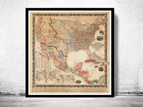 Old,Map,of,United,States,1856,Vintage,united states map, united states poster, united states of america, USA map, map of US, map of United states