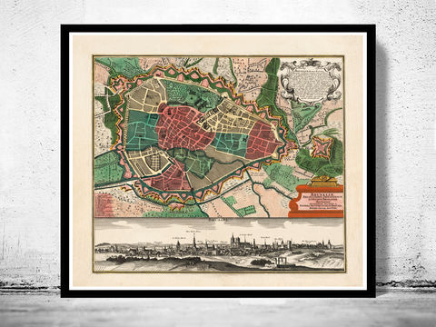 Vintage,Map,of,Brussels,Bruxelles,Belgium,1735,Art,Reproduction,Open_Edition,map,old,city,vintage,plan,illustration,panoramic_view,antique,brussels,bruxelles,belgium,gravures,vintage_map