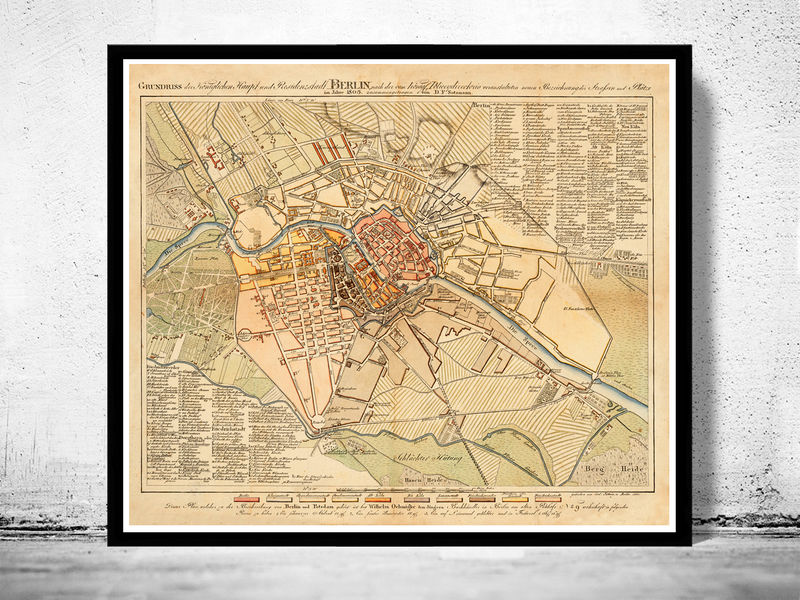 Old Map of Berlin, Germany 1804 Antique Vintage - product image