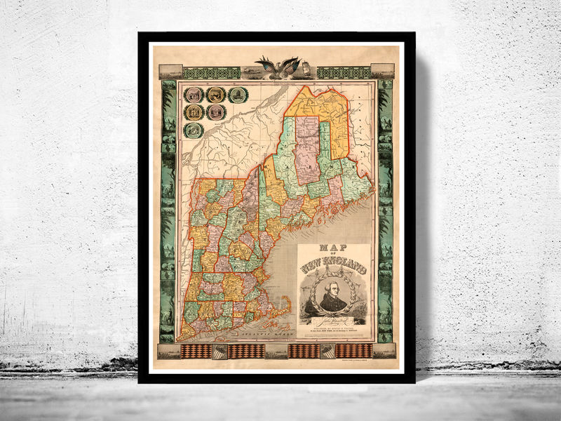 Old Map of New England 1847 vintage - product image