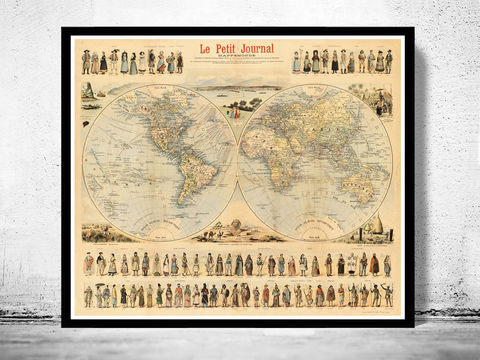 Old,World,Map,1900,people,of,the,world,mappemonde, le petite journal, people of the world, costumes world, world races, Art,Reproduction,Open_Edition,World_map,old_map,atlas,Asia,europe,america,oceania,vintage_map,map_of_the_world,vintage_world_map,folklore_people,world_map_poster,old_world_ma