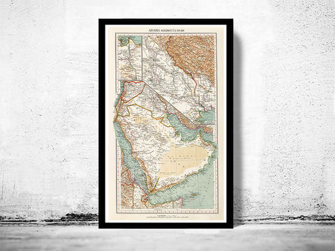 Old,Map,of,Middle,East,Arabia,Vintage,map,1929,Art,Reproduction,Open_Edition,old_map,atlas,illustration,antique_map,vintage_map,Iraq,Syria,Saudi_Arabia,Iran,Yemen,middle_east_map,arabia_map