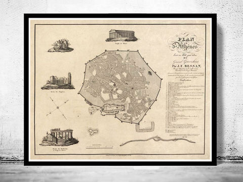 Old,Map,of,Athens,Greece,1826,Vintage,athens, map of athens, athens greece, greece map, greek art, athens poster, antique print, antique map