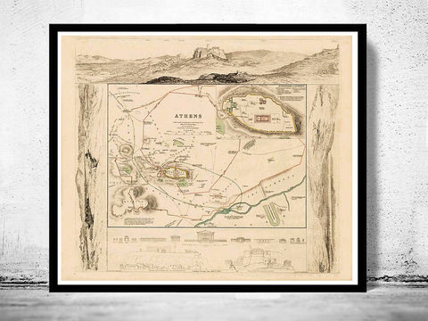 Old,Map,of,Athens,Acropolis,,Greece,1853,Vintage,map,athens, map of athens, athens map, athens greece, greece posters, old map, vintage map, antique map