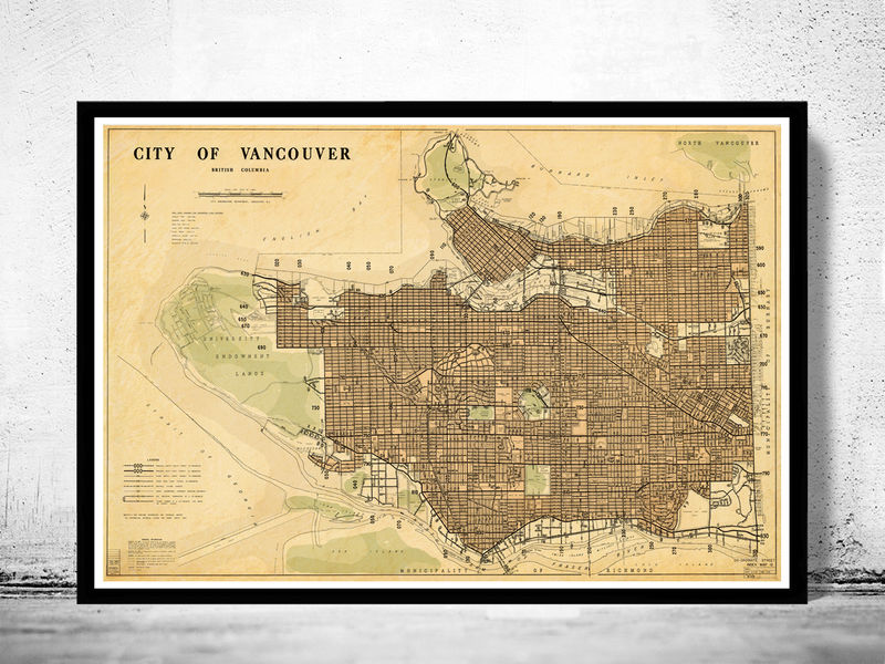 Old Map of Vancouver, British Columbia Canada - product image