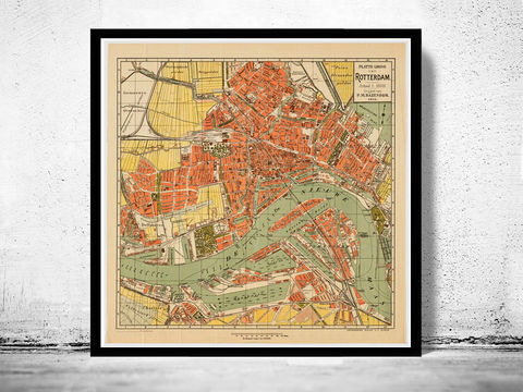 Old,Map,of,Rotterdam,The,Netherlands,1911,Vintage,rotterdam, rotterdam map, map of rotterdam, old map, amsterdam map