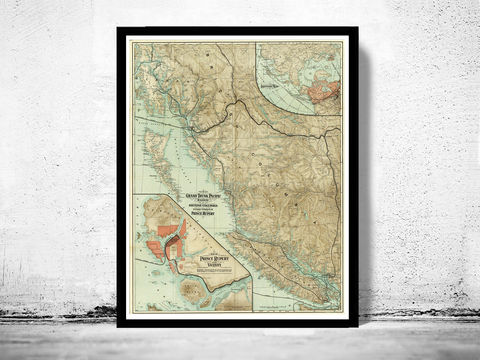 Old,Map,of,British,Columbia,1910,Canada,Vintage,british columbia, british columbia canada, british columbia poster, antique map, old map, vintage map, vintage poster , vancouver map, vancouver canada, map of vancouver, british columbia map