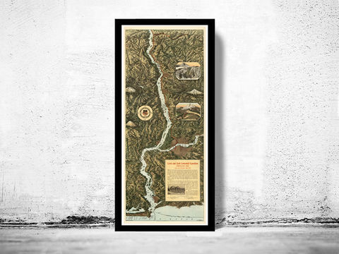Old,Columbia,River,Map,Through,the,Cascade,Mountains,to,Pacific,Ocean,1905,vintage poster, columbia river, columbia river poster, columbia river map