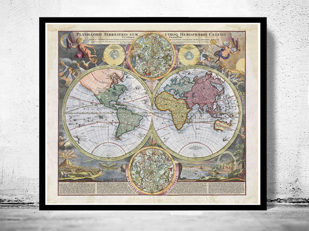 Old Map of The World 1730 Vintage World Map - product images  of