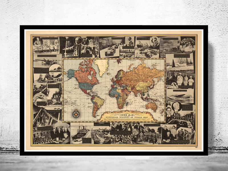 Vintage World Map World War II History Map 1939 - product image