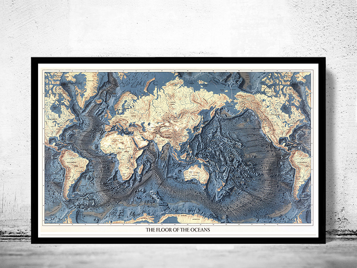Beautiful Old World Map Atlas Floor of the Ocean Vintage map - product images  of