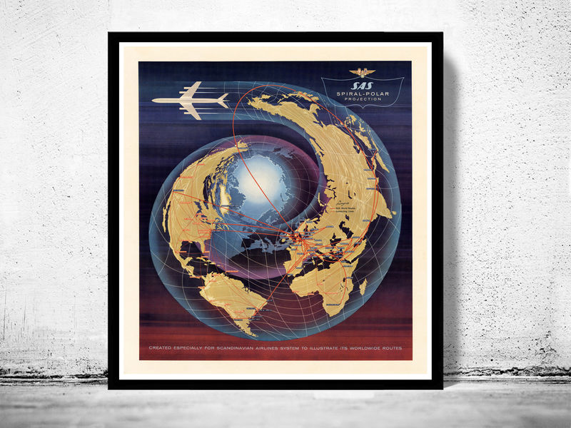 Vintage World Map Spiral Polar Projection Airlines  - product image