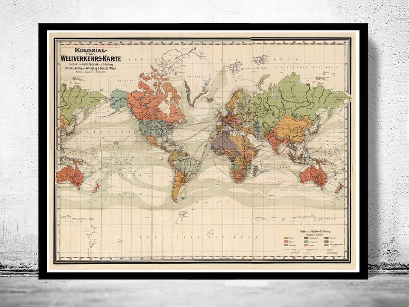 Old World Map Atlas Vintage World Map 1906 Colonial Chart Mercator projection - product image